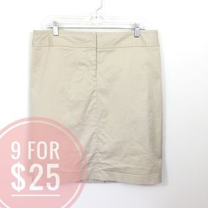 J. CREW STRETCH KHAKI STRAIGHT SKIRT